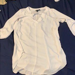 White blouse w/quarter sleeves & sleek yellow tank